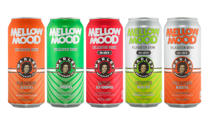 Five cans of Mellow Mood, Bob Marley-licensed non-alcoholic beverages.