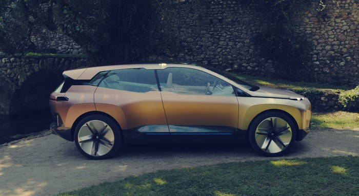 "BMW's iVision NEXT concept vehicle, a futuristic crossover SUV with styling themes similar to BMW's ""i"" vehicles."