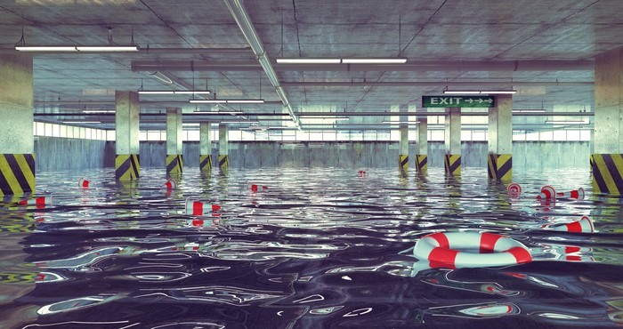 Flooded indoor parking facility.