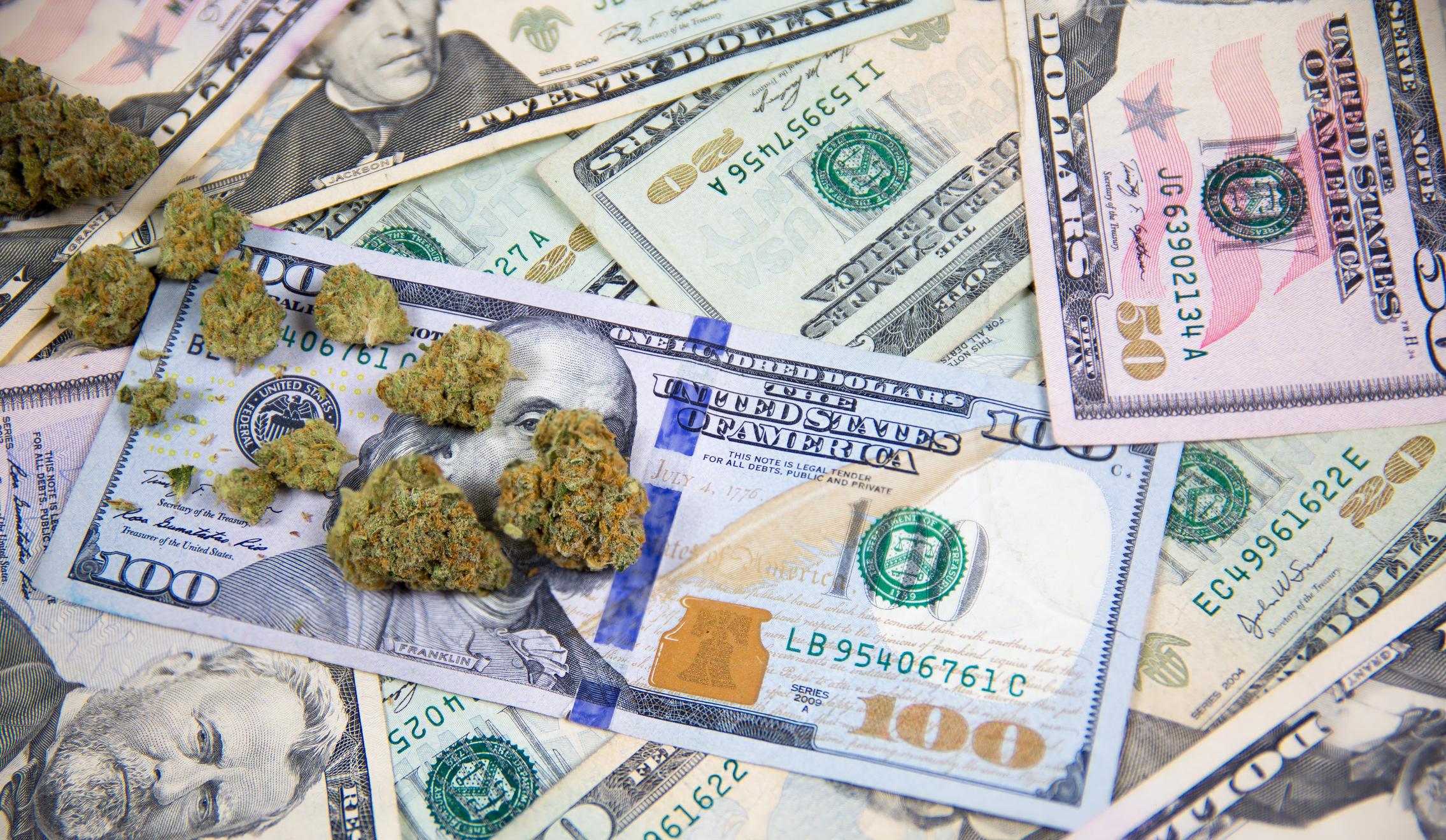 Marijuana buds on top of a pile of cash.