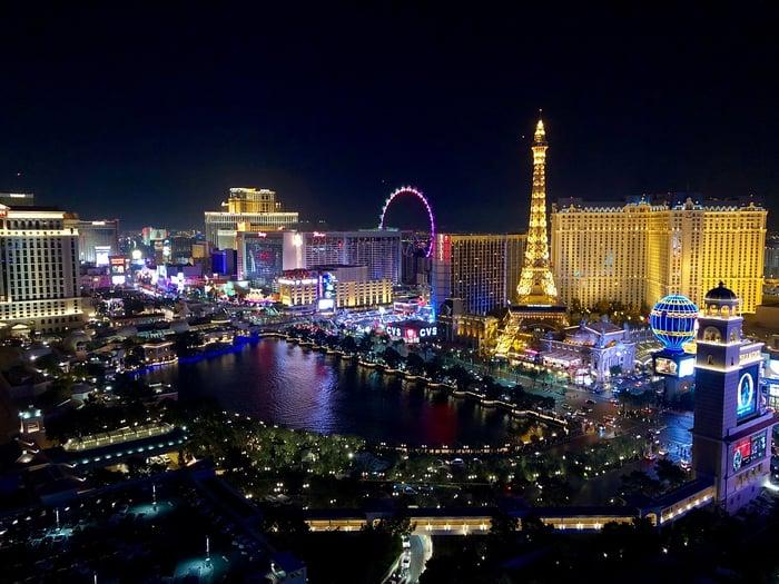Las Vegas Strip skyline at night.