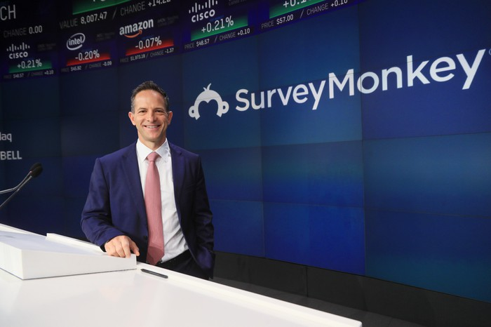 SurveyMonkey CEO Zander Lurie in front of a wall with the company logo and the logos of other Nasdaq-listed companies.