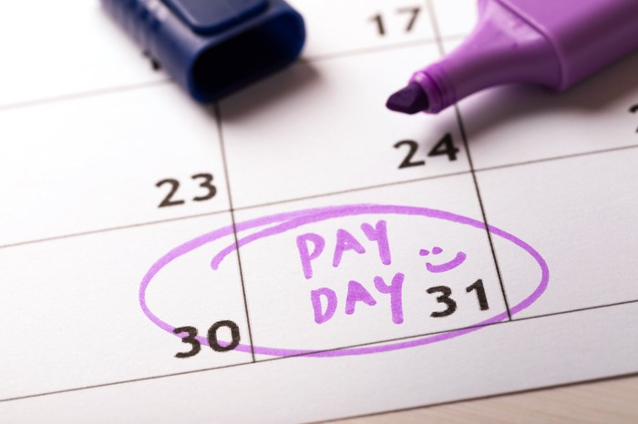 The words Pay Day marked on a calendar with a purple highlighter.