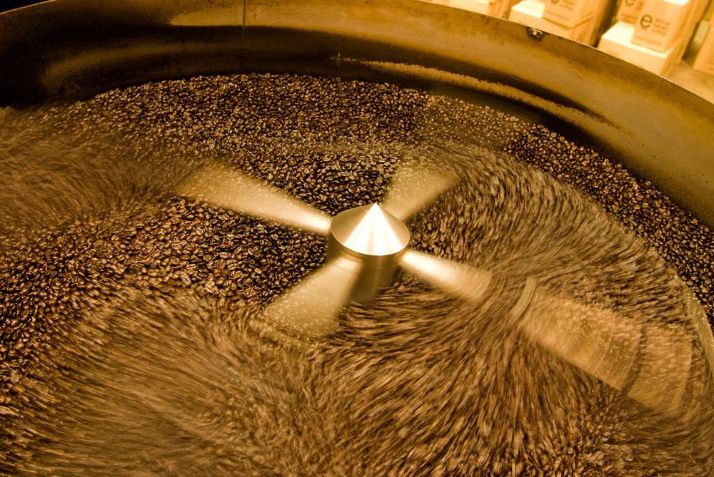 A machine mixes beans at an Ethical Bean coffee plant.