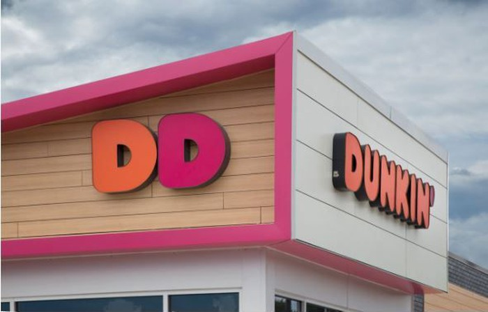The new Dunkin' logo is seen on a store.