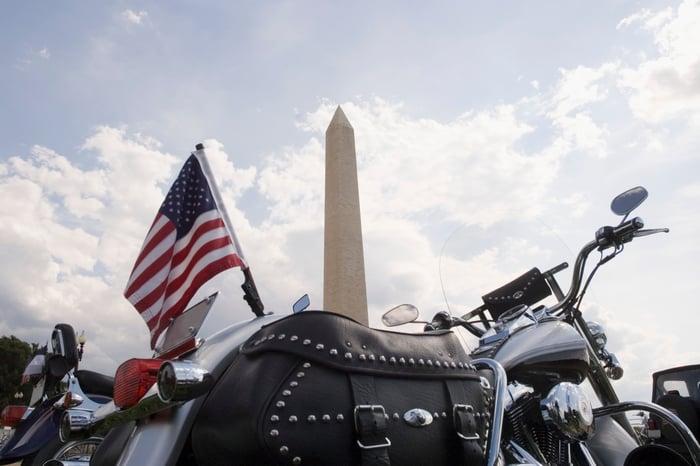Motorcycle flying American flag at Washington Monument