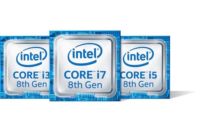 Intel 8th Gen Core processor badges.
