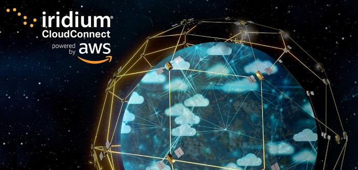 """An illustration of earth with Iridium's NEXT satellites floating above the surface in space.The text """"Iridium CloudConnect powered by AWS"""" is displayed in the top left corner."""