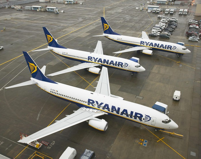 Three Ryanair jets parked on the tarmac