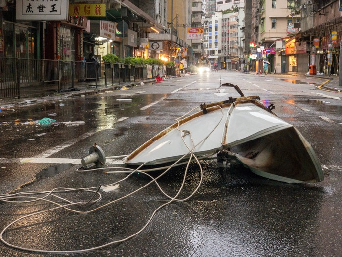 Debris left in the street after Typhoon Mangkhut hit Hong Kong.