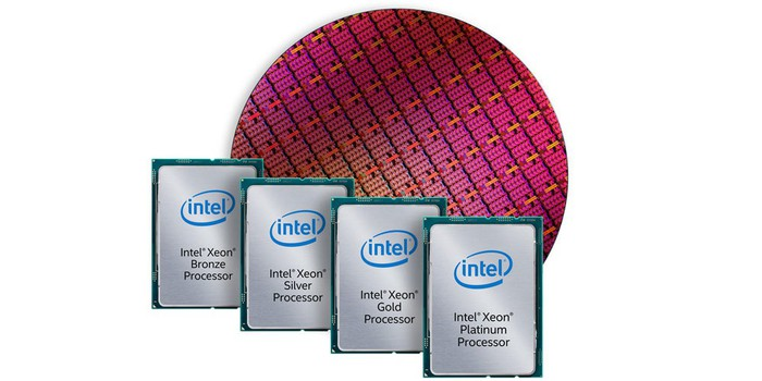 Intel Xeon processors in front of a circular silicon wafer