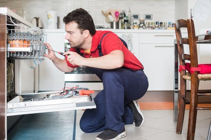 Appliance repairman fixing a dishwasher