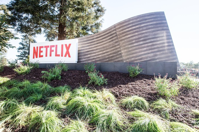 Netflix sign at entrance to its Los Gatos campus.