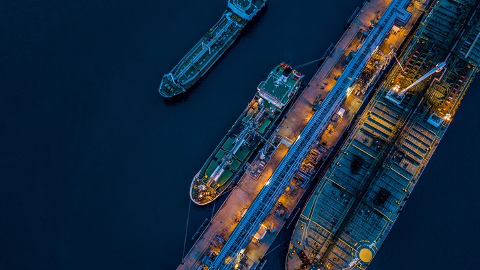 An aerial view of oil tankers.