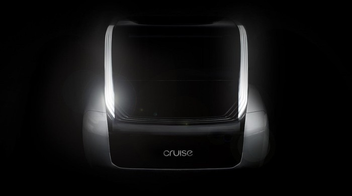 """A dark image that shows the outline of a vehicle's front end with a """"Cruise"""" logo visible."""