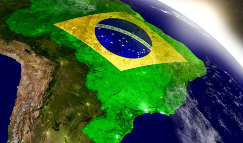 View of Brazil from space emblazoned with a Brazilian flag