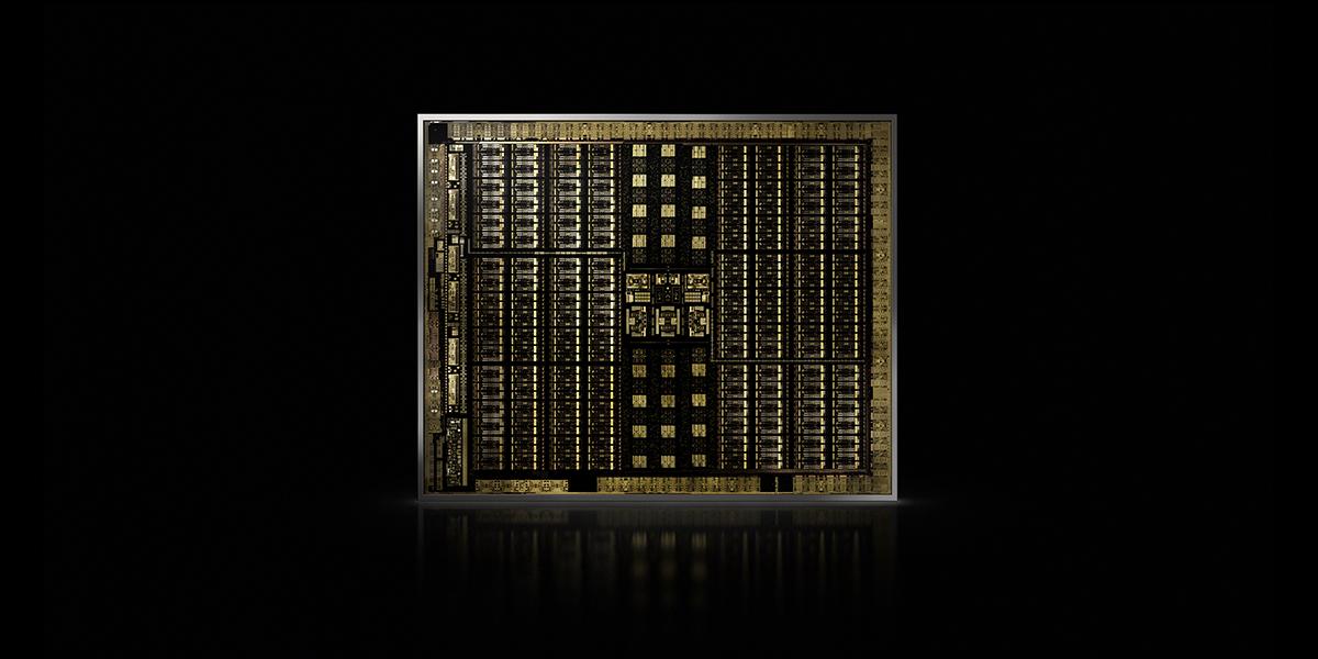 A shot of the NVIDIA Turing GPU die.