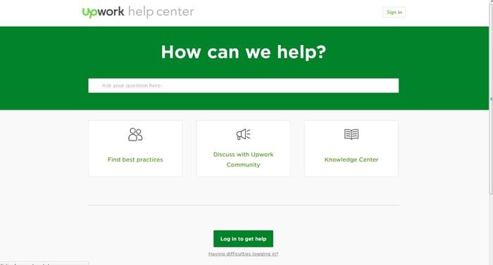 Upwork Help Center landing page.