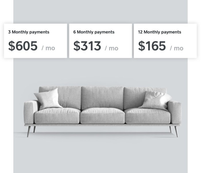 A graphic showing monthly installment options for buying a sofa.