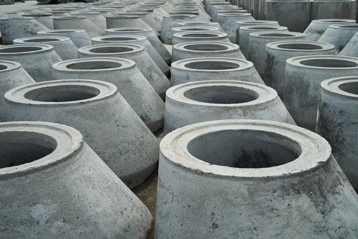 Concrete drainage pipes.