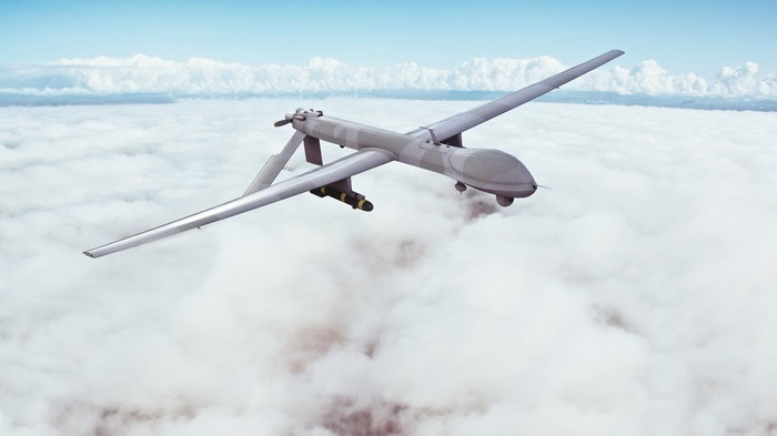 A military drone in flight.