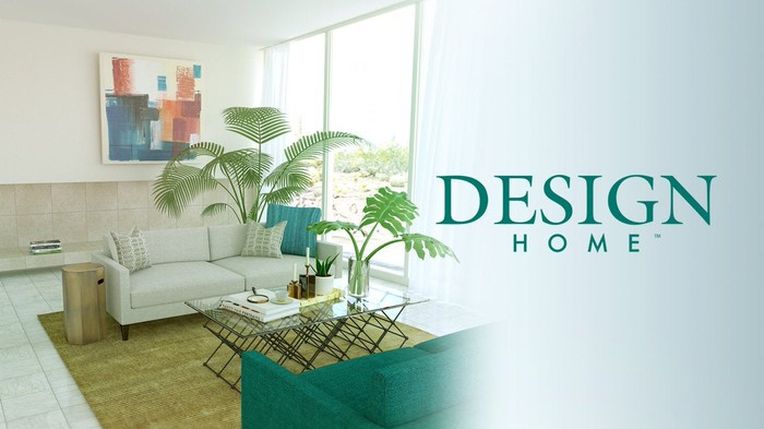 Cover art for Glu Mobile's Design Home game featuring a minimalist living room.