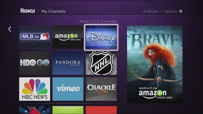 ROKU software interface showing various channels like Disney, MLB.tv, and NBC News