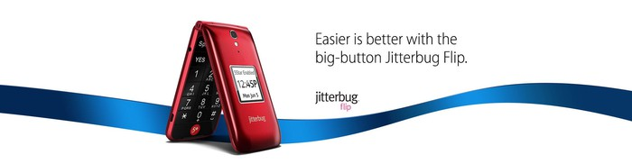"""A banner ad with a a partially opened red flip phone, reading """"Easier is better with the big-button Jitterbug Flip"""""""
