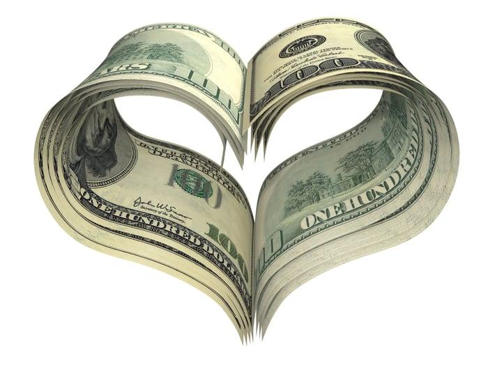 $100 bills folded to form a heart shape.