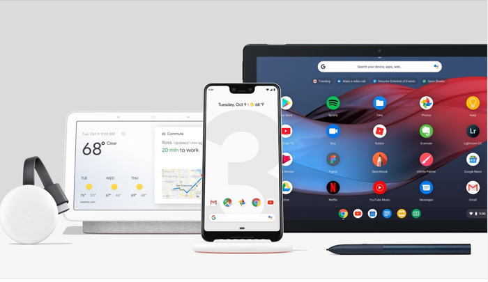 The Pixel 3, Pixel Slate, and Google Home Hub.