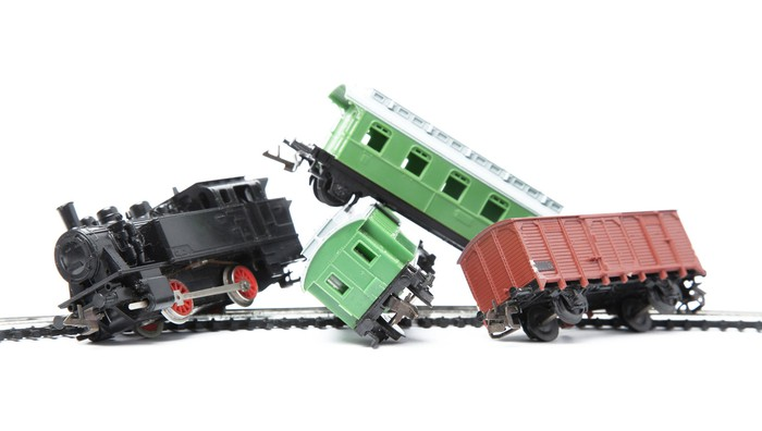 Toy train derailment.