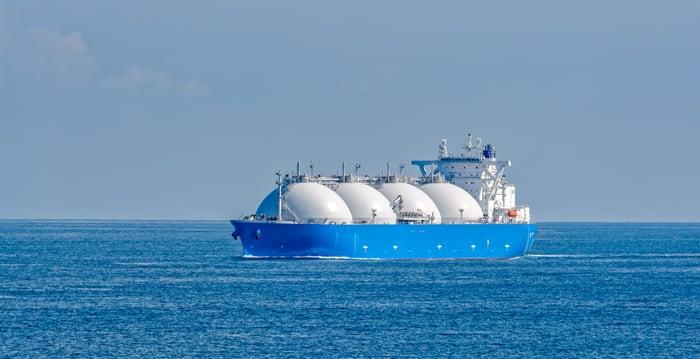 A tanker on open water.