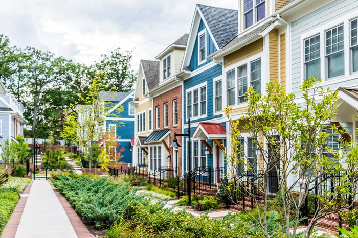 Image of colorful rowhomes.