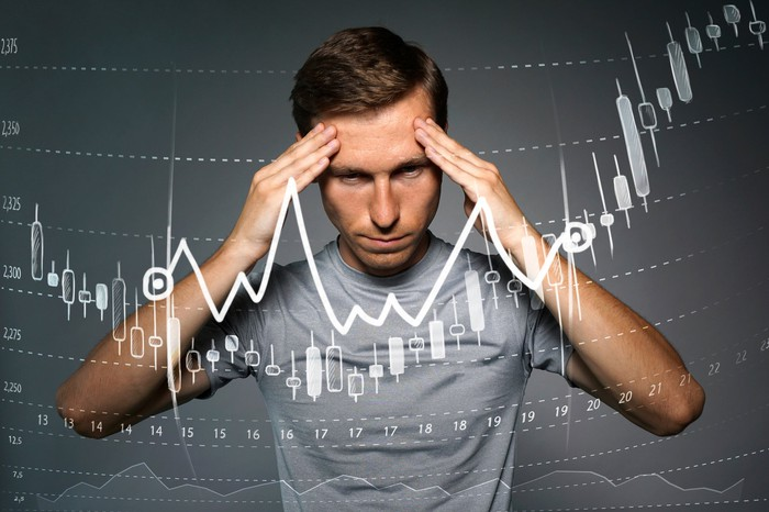 Man with hands held to temples with stock candlestick chart displayed in front of him.