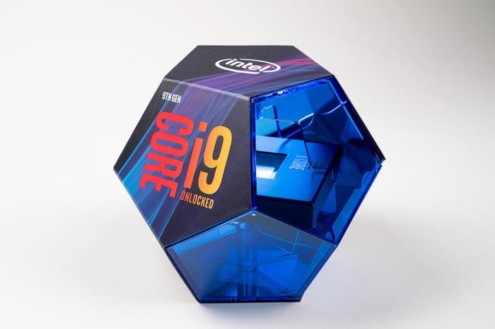 An Intel Core i9 chip box.
