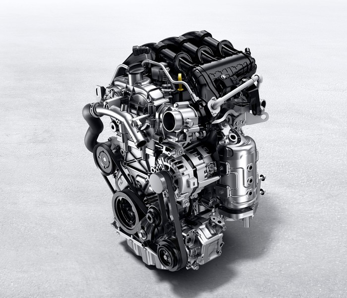 "GM's 1.3 liter ""Ecotec"" engine, a turbocharged three-cylinder unit."