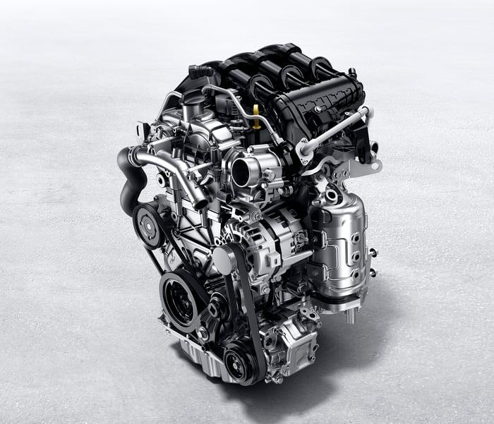 "GM's 1.3 liter ""Ecotec"" engine, a turbocharged three-cylinder unit."