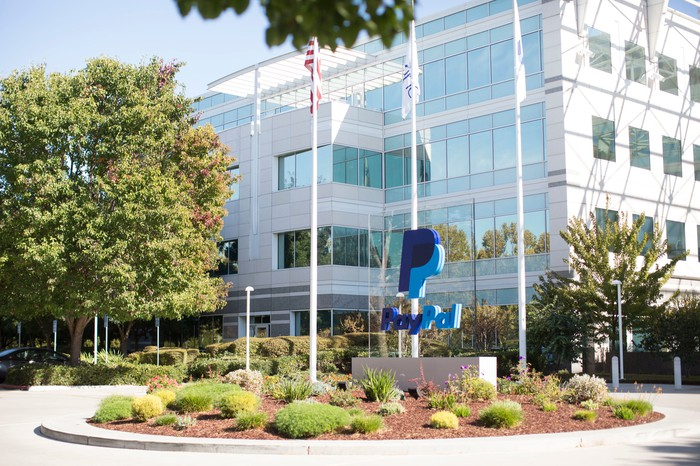 The PayPal logo near the entrance of its headquarters building.