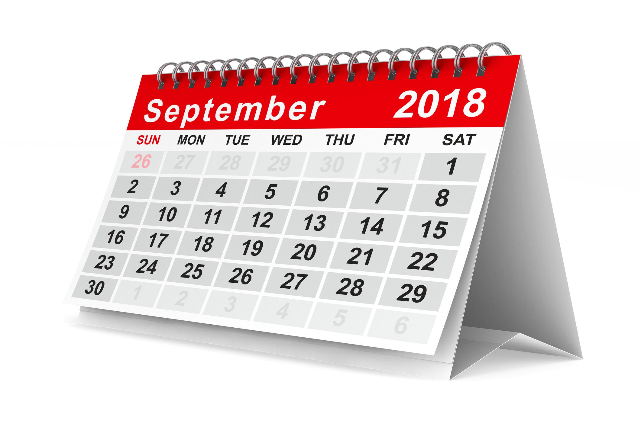 A September 2018 calendar