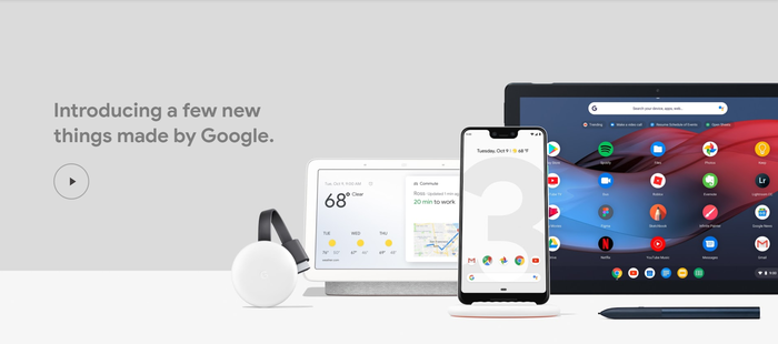 A slide from the Google release event showing the Pixel 3, Home Hub, and Pixel Slate tablet