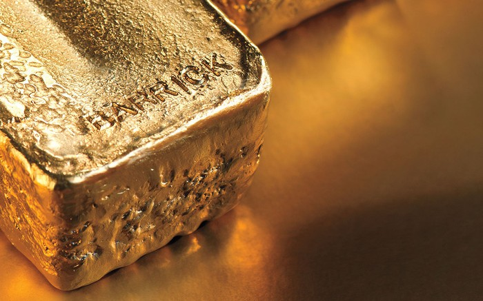 Large gold brick with BARRICK stamped into the top.
