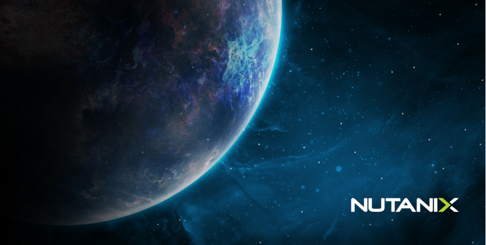 Planet Earth in space with Nutanix logo