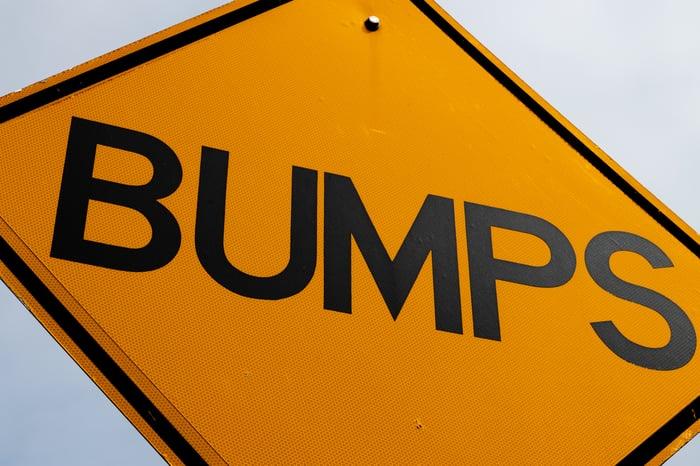Bumps road sign