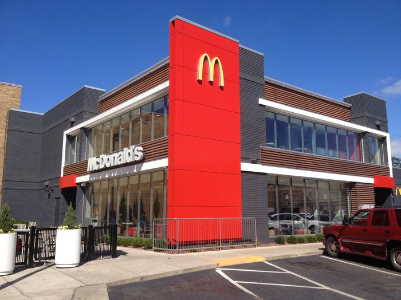 The exterior of a renovated McDonald's restaurant