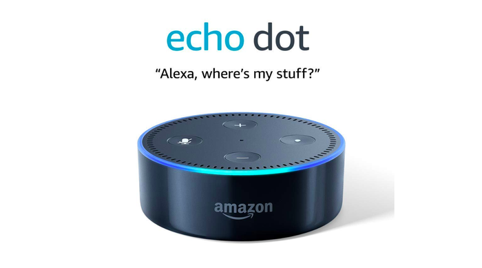 The black Amazon Echo Dot is shown against a white background.