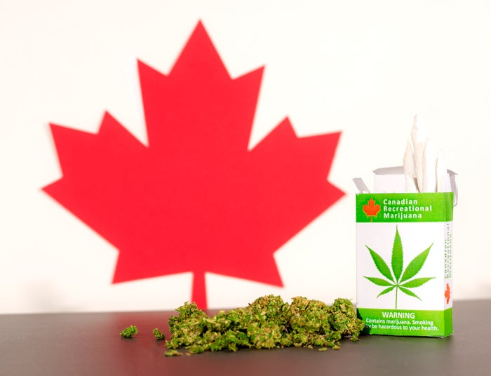 Red Canadian maple leaf cut-out next to marijuana buds and mocked-up Canadian recreational marijuana cigarette pack.