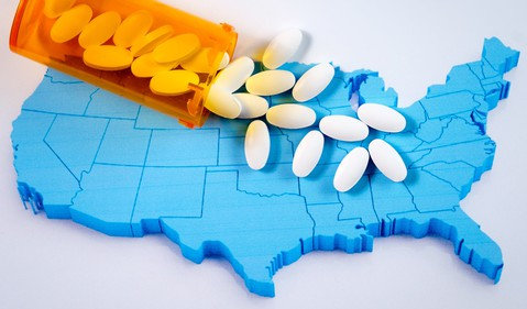 Pills on top of US map