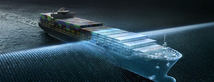 An artists rendering of a ship passing through a digital veil.