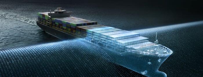 An artists rendering of a ship passing through a digital veil.