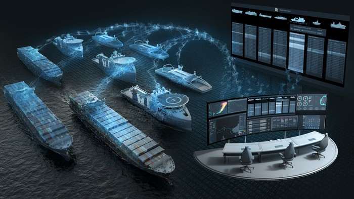 A graphic of ships transmitting information back to a data center for analysis.